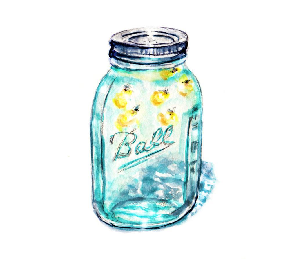 Day 10 - #WorldWatercolorGroup - Lightning Bugs In A Jar Watercolor - #doodlewash