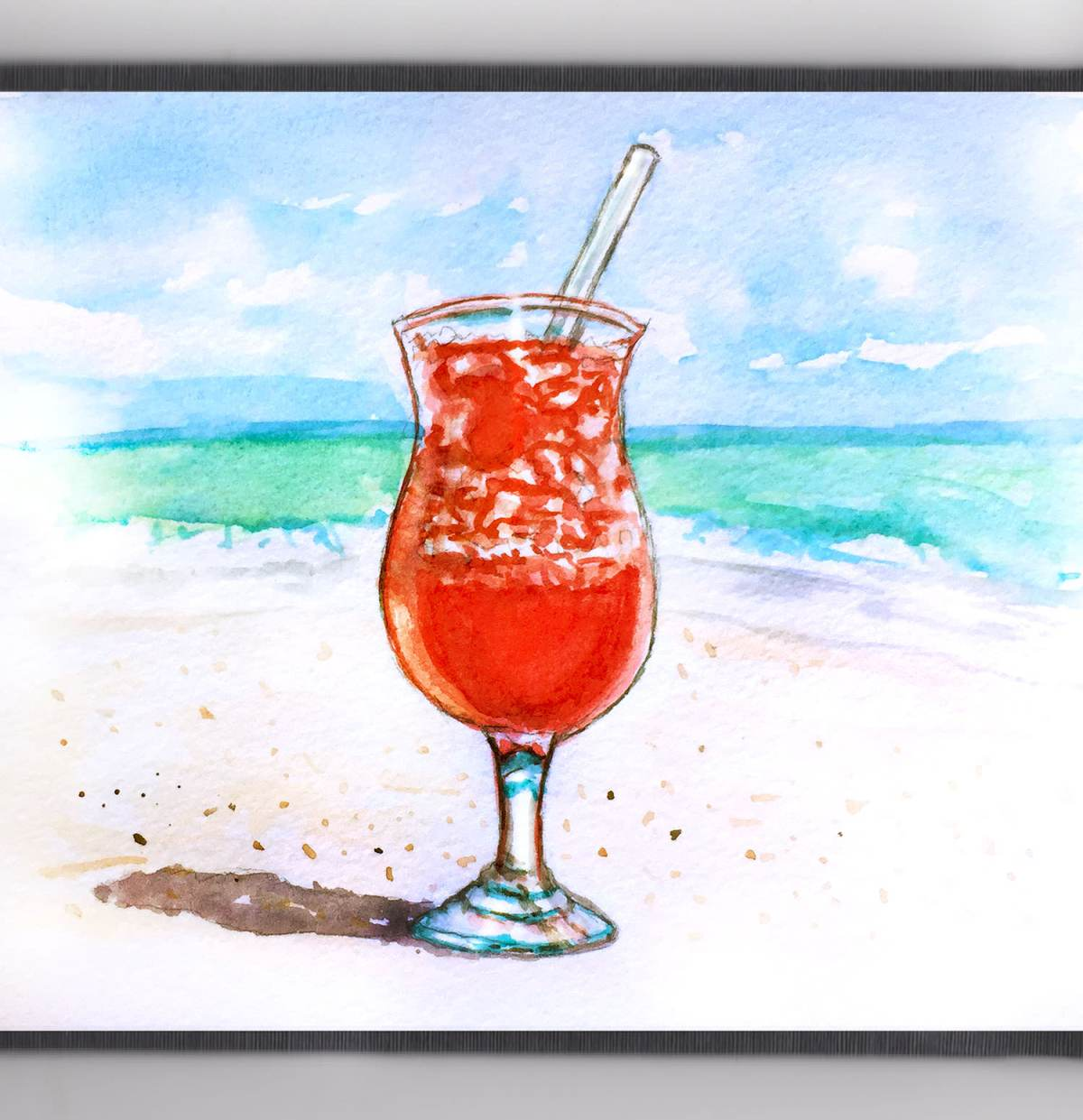 Day 12 - #WorldWatercolorGroup - Drink On the Beach - #doodlewash