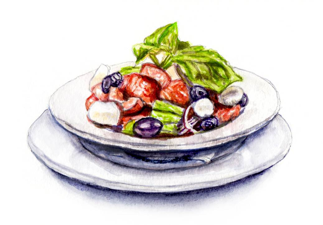 Day 16 - #WorldWatercolorGroup - Summer Greek Salad Watercolor - #doodlewash