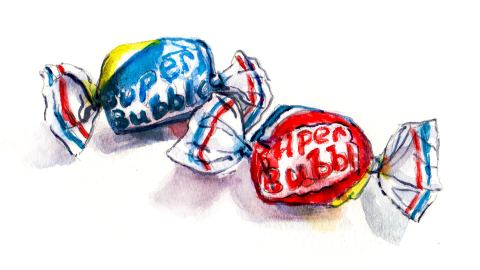 Day 20 - #WorldWatercolorGroup - Chewing Bubble Gum Watercolor - #doodlewash
