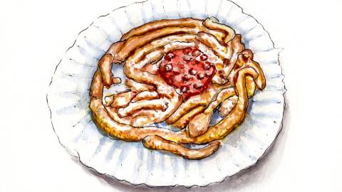 Day 28 - #WorldWatercolorGroup - Funnel Cakes At The Fair Watercolor - #doodlewash