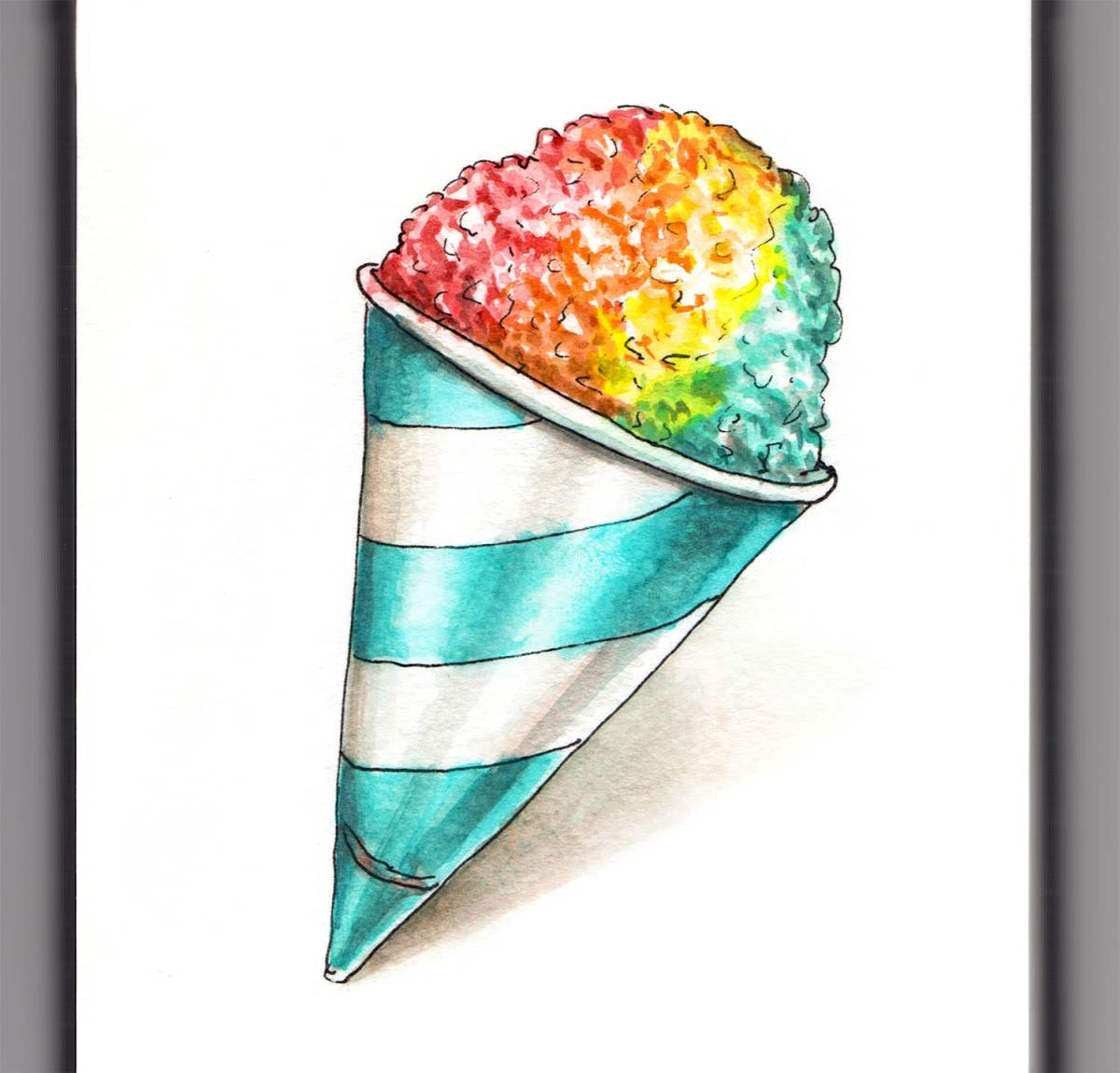 Day 29 - #WorldWatercolorGroup - Rainbow Snow Cone - #doodlewash