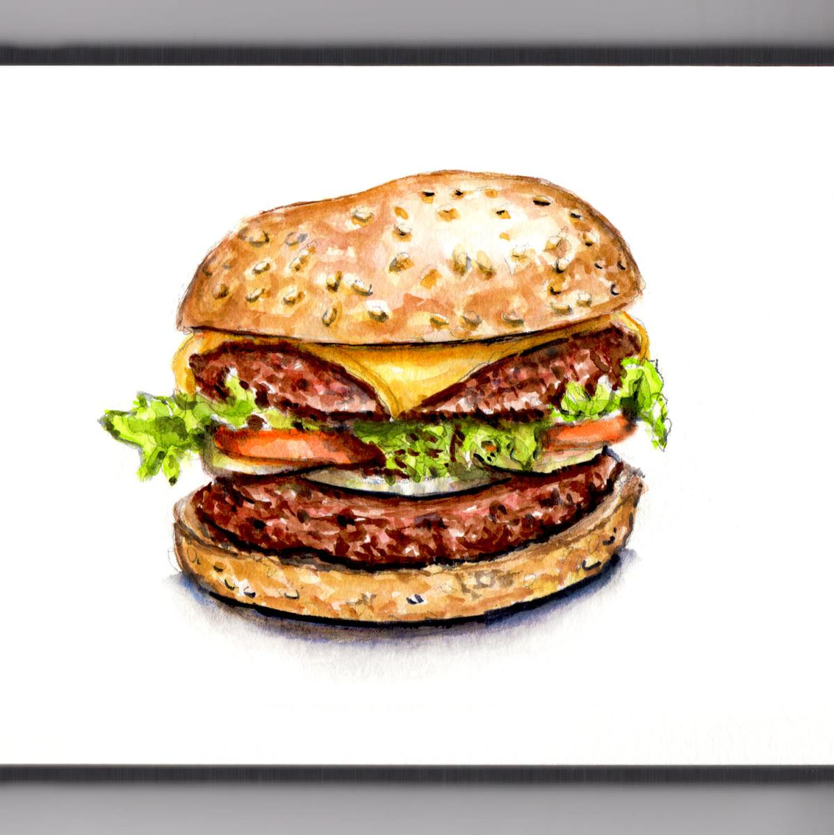 #WorldWatercolorGroup - Double Cheeseburger With Lettuce Tomato And Onion Illustration Watercolor - #doodlewash