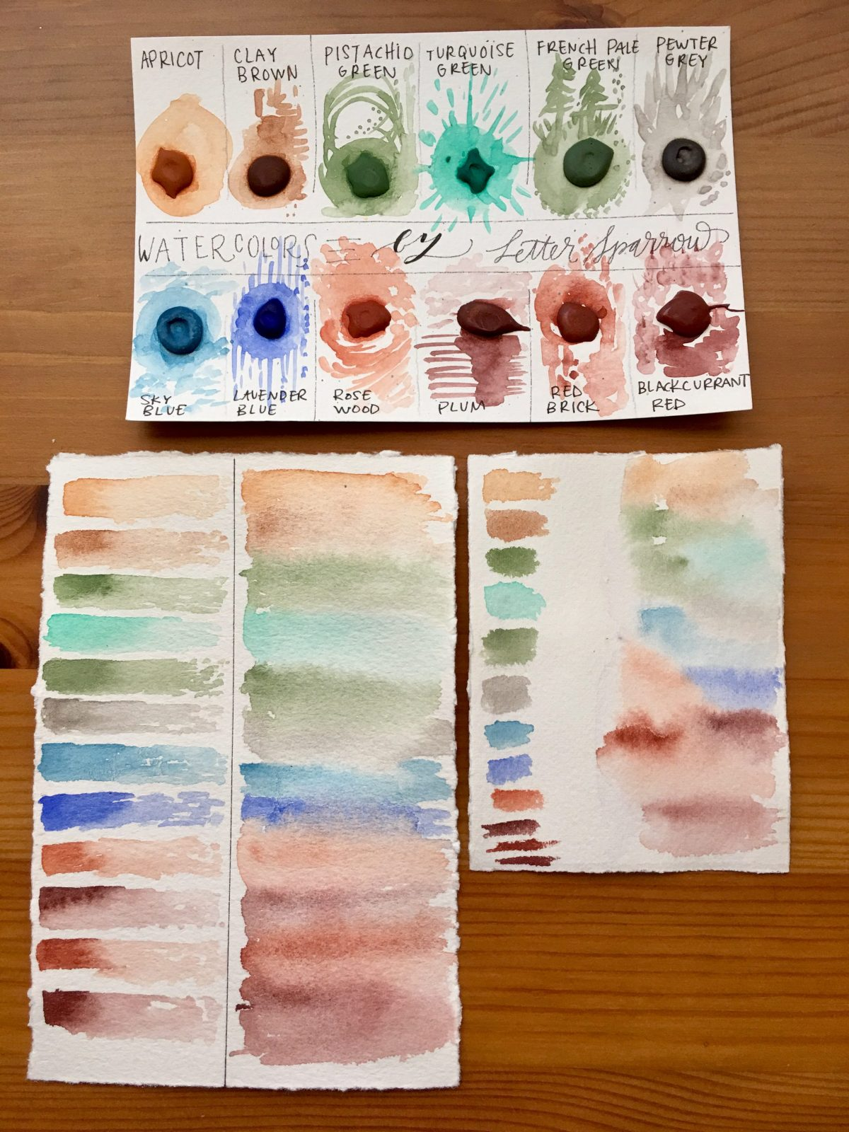 Handmade watercolors by Letter sparrow Summer Nights set and a French Mineral dot card, watercolor painting by jessica seacrest on yupo