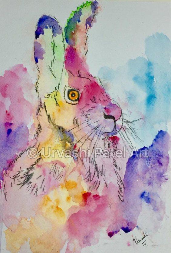 #WorldWatercolorGroup - Watercolour by Urvashi Patel Art - Expressive Hare - #doodlewash