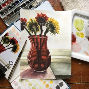 Sunflowers in Red Vase IMG_3291