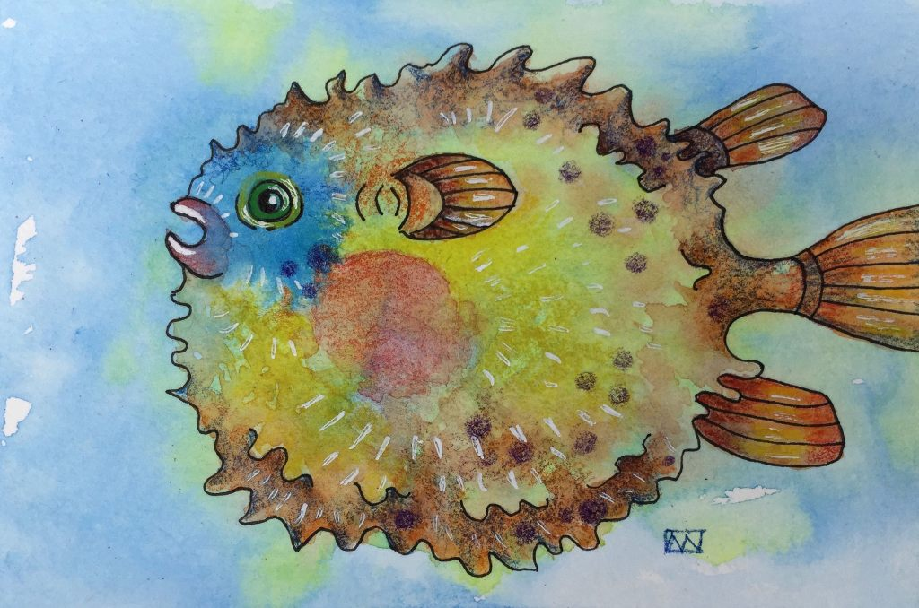 Puffy Fish watercolor and ink on paper, just for fun! IMG_6980
