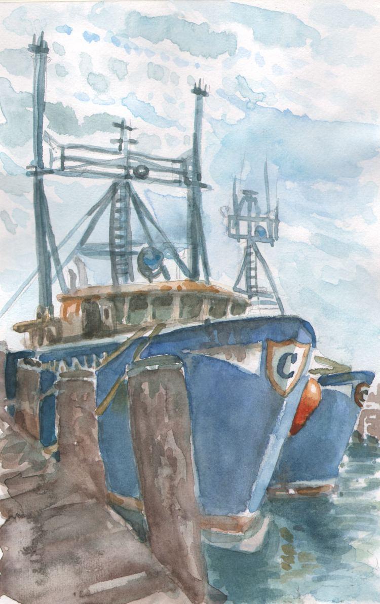 Boat in Point Judith, RI Landscape_RIPointJudith_QueenAnne_WC