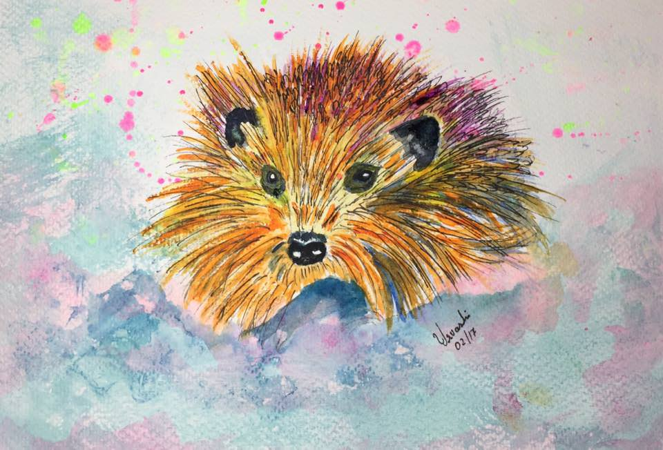 #WorldWatercolorGroup - Watercolour by Urvashi Patel Art - Mr Scruffy Hedgehog - #doodlewash