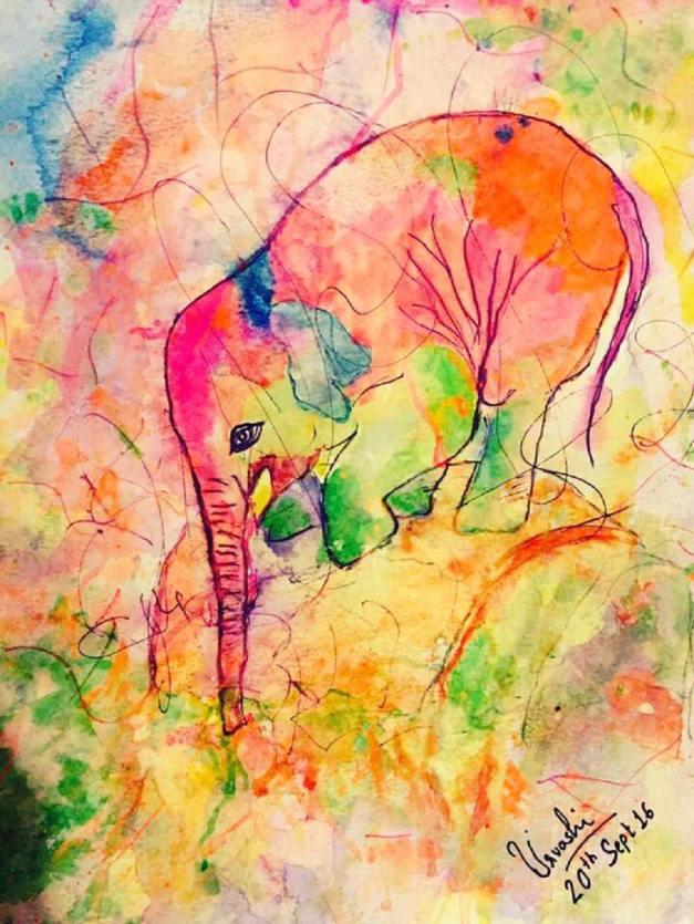 #WorldWatercolorGroup - Watercolour by Urvashi Patel Art - Nellie the Elephant - #doodlewash