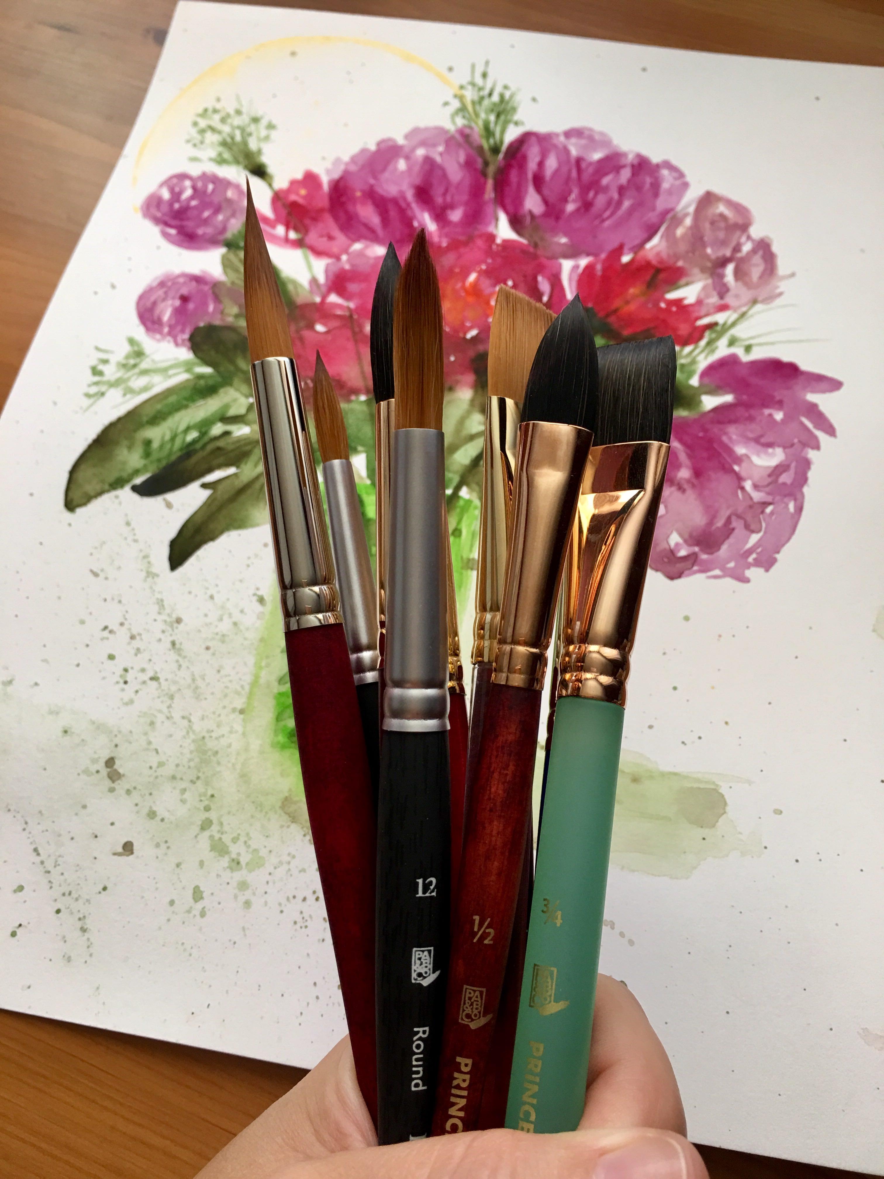 7050 Kolinsky Sable Short Handle Watercolor Paint Brush Size 4 Round 7050R-4--Best Watercolor Brush Princeton 1-Pack
