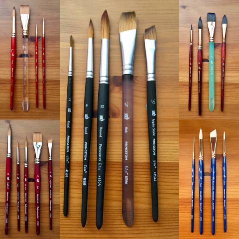 Princeton Artist Brush Co. watercolor brushes, heritage, elite, Neptune, velvetouch, summit