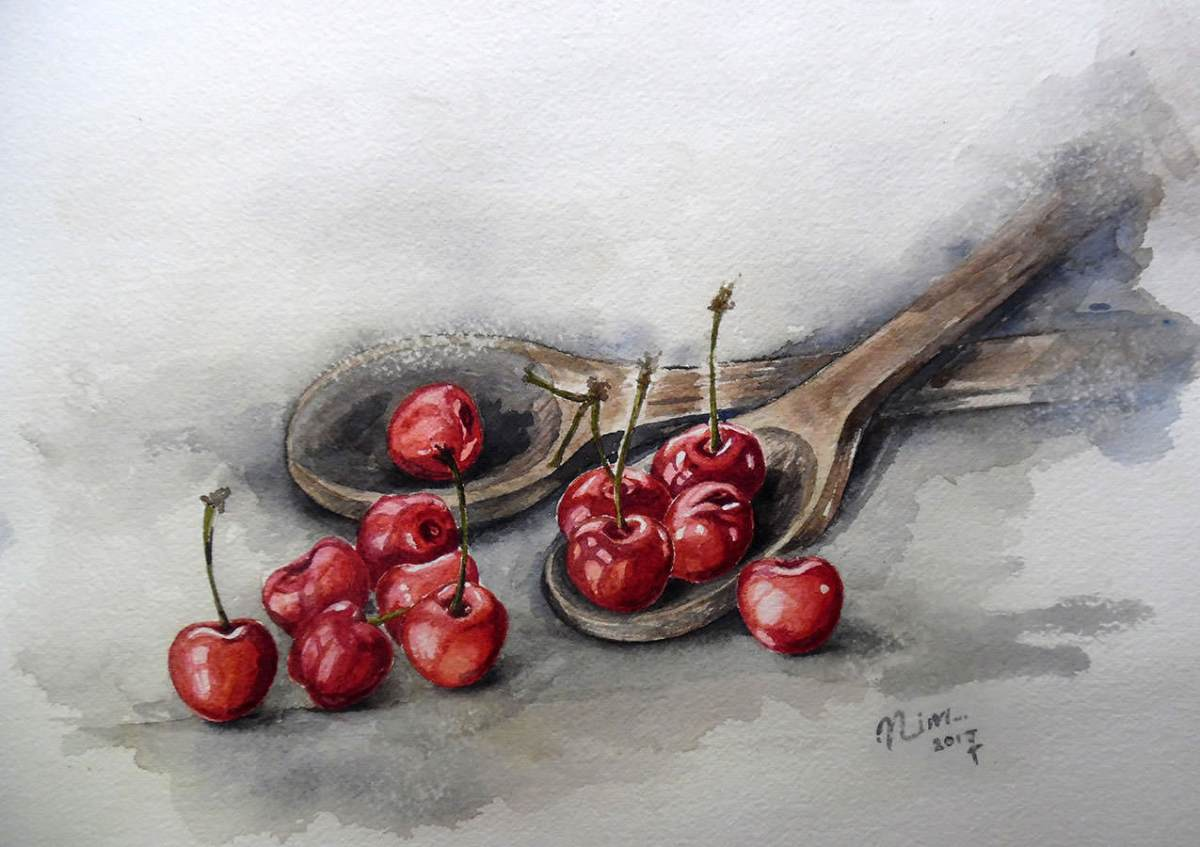 #WorldWatercolorGroup - Watercolor by Nimesha Udani - Cherries - #doodlewash