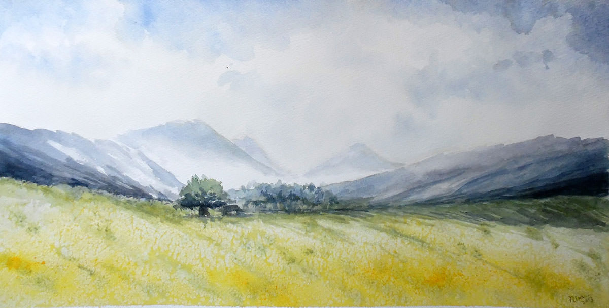 #WorldWatercolorGroup - Watercolor by Nimesha Udani - Yellow Landscape - #doodlewash