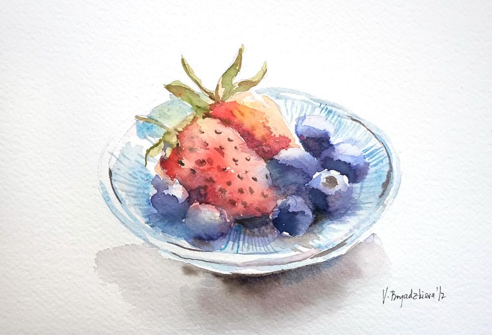 #WorldWatercolorGroup - Watercolor by Violeta Boyadzhieva - bowl of fruit - #doodlewash