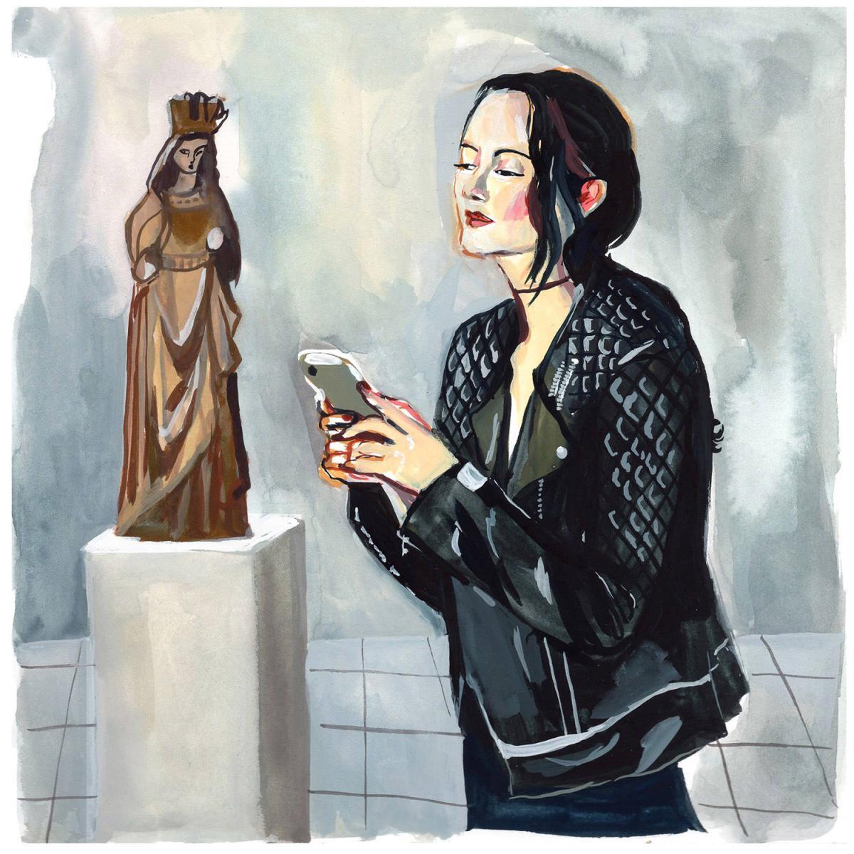 #WorldWatercolorGroup - Art by Jenny Kroik - cloisters madonna - #doodlewash