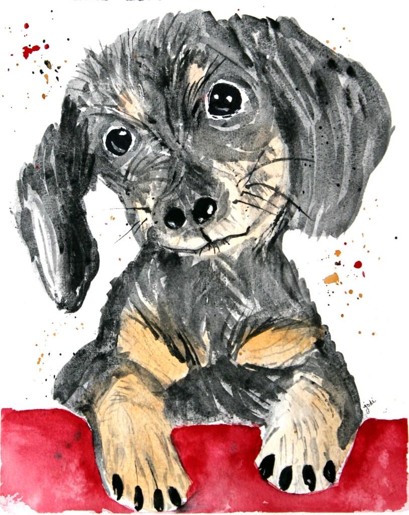 Dachshund Puppy daschund puppy watercolor 8×10 140lb saunders