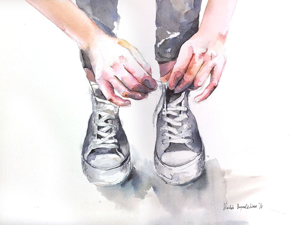 #WorldWatercolorGroup - Watercolor by Violeta Boyadzhieva - tying shoelaces on sneakers - #doodlewash