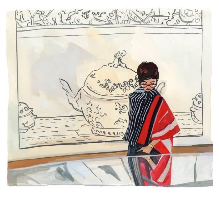 #WorldWatercolorGroup - Art by Jenny Kroik - MOMA reflection - #doodlewash