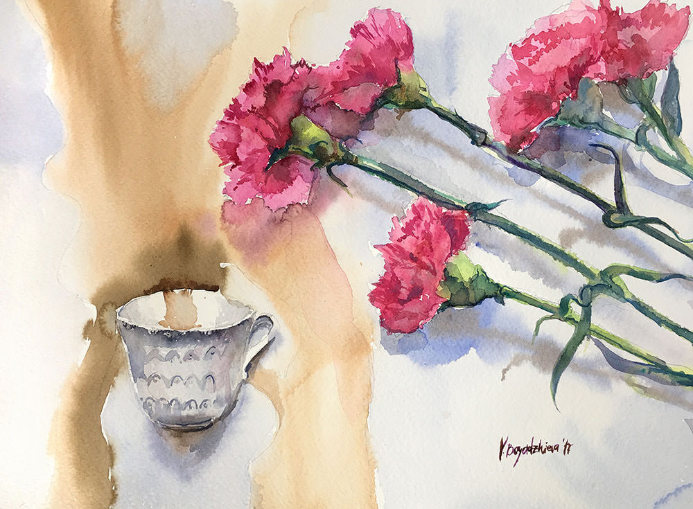 #WorldWatercolorGroup - Watercolor by Violeta Boyadzhieva - flowers and coffee cup - #doodlewash