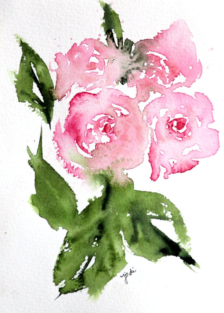 Pink Rose Warm Up pink roses warm up painting 5×7 saunders 140lb cold press