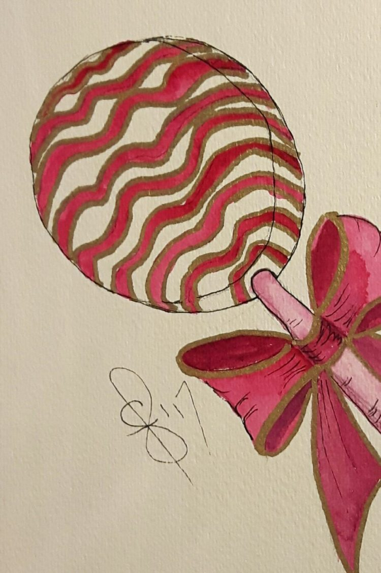 "#WorldWatercolorMonth July 28 ""Lollipops\"" Here is one for all the girlie girls out the"