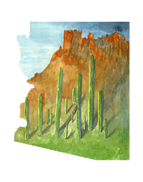 #WorldWatercolorMonth - Watercolor by TannaBelle - Arizona Map - #doodlewash