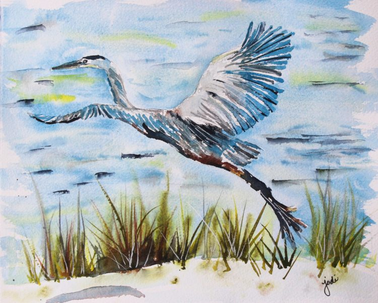 Blue Heron Blue Heron Watercolor Jennas 8×10 140lb Saunders Hot Press