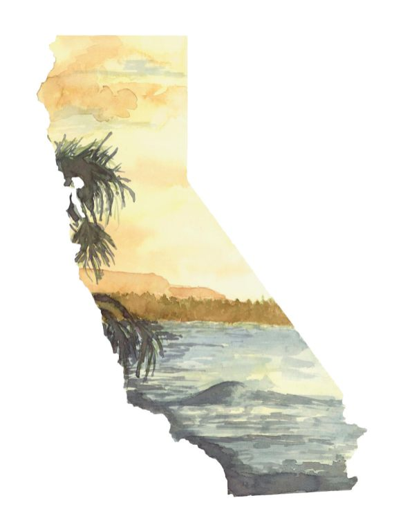 #WorldWatercolorMonth - Watercolor by TannaBelle - California Map - #doodlewash