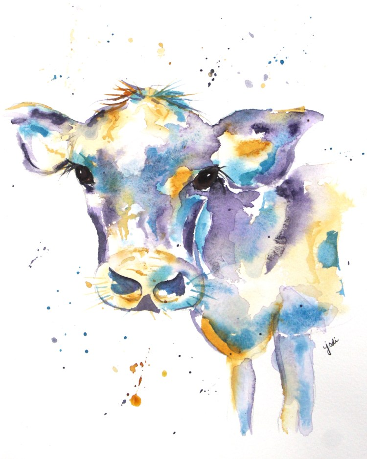 Hal the Colorful Cow Cow named Frau Watercolor 8×10 140lb Saunders Cold Press