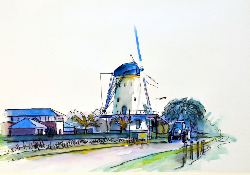 A windmill near my house in Kloetinge. pen and watercolor Once a country of 10,000 windmills, Hollan