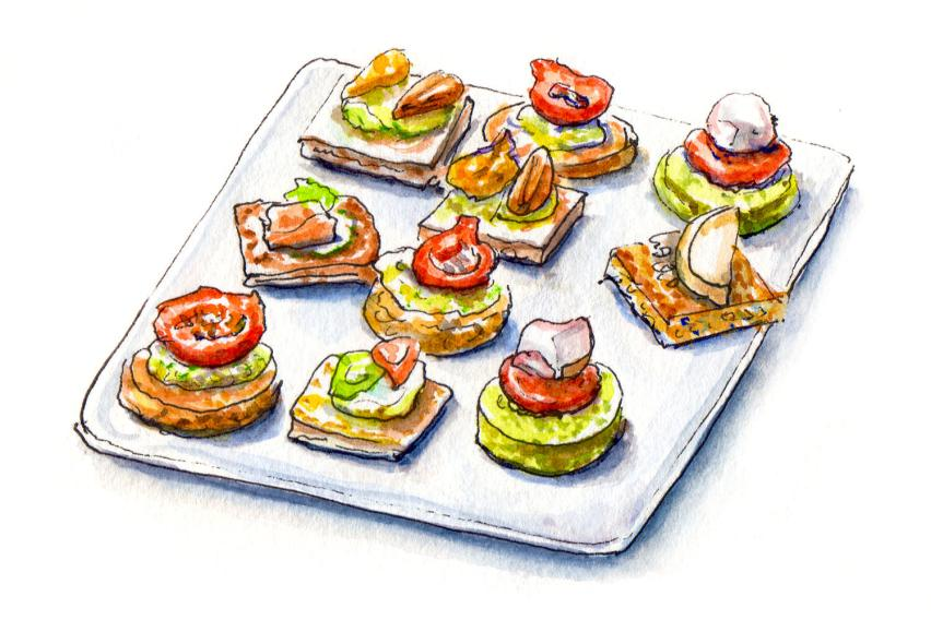Day 1 - #WorldWatercolorMonth _ Canapes On A Plate