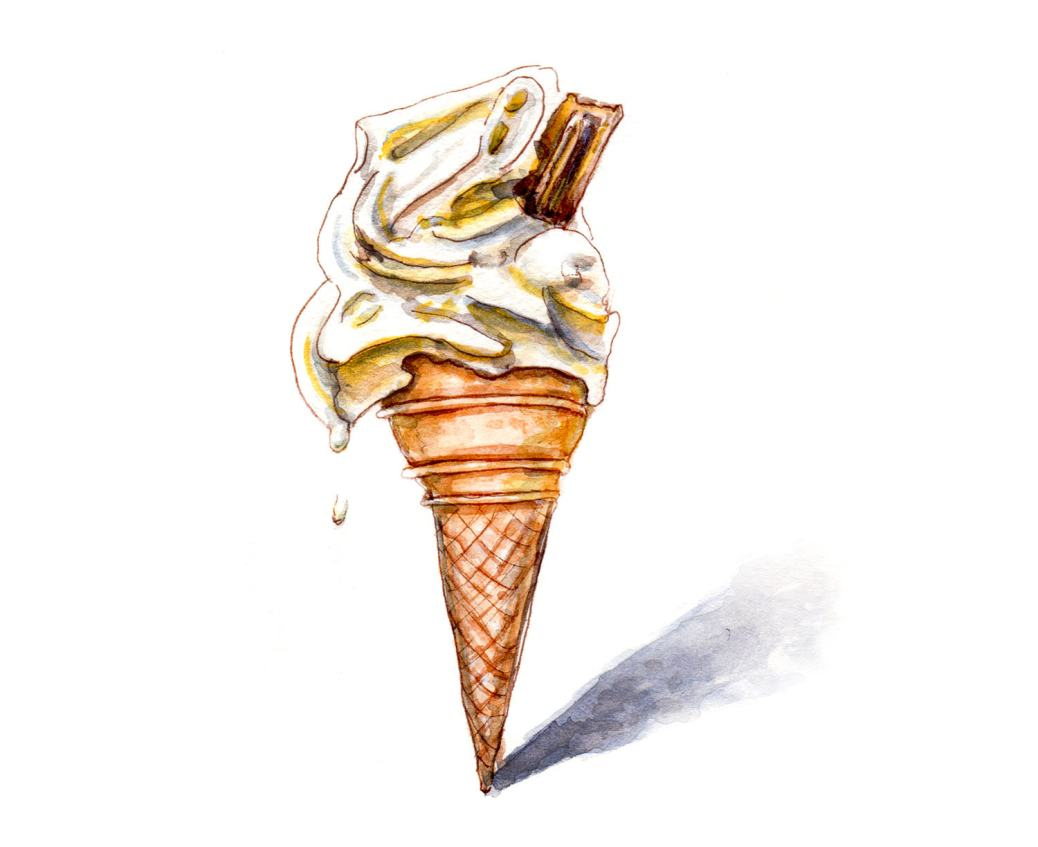 Day 11 - World Watercolor Month - Summer Views Melting Ice Cream Cone - Doodlewash