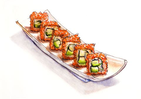 World Watercolor Month – Day 20 – California Roll Dreaming