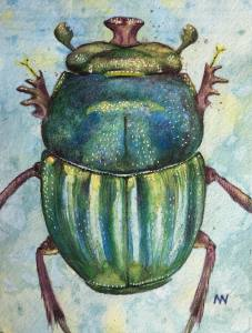 Strong and free, the Dung Beetle #worldwatercolormonth. Using Inktence and watercolor pencils on pap