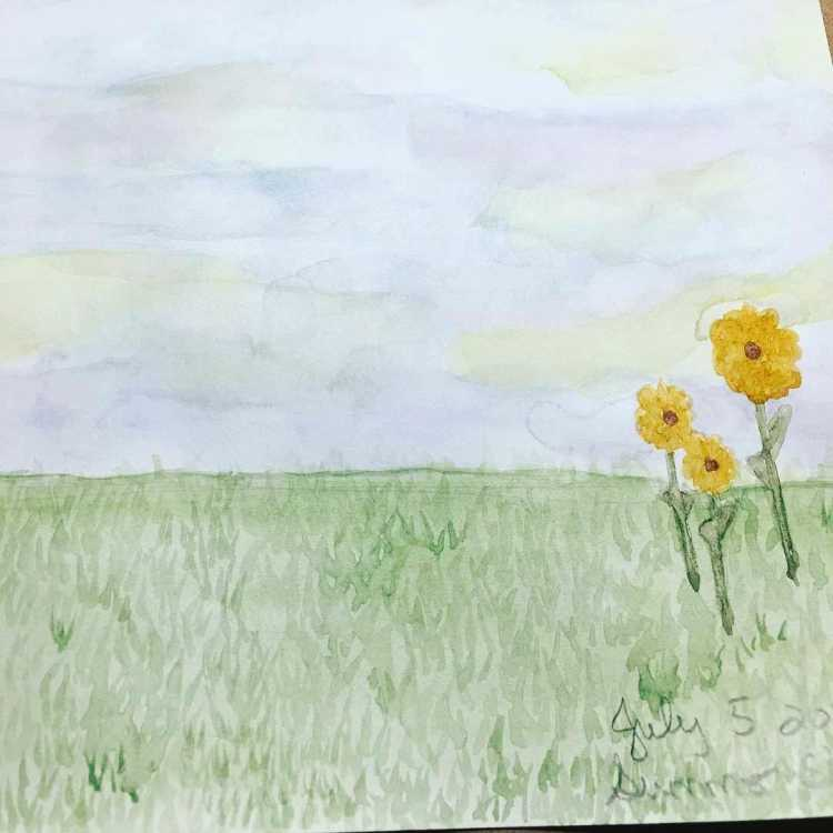 My work for the July 2017 watercolor month challenge (Summer sky) IMG_0905