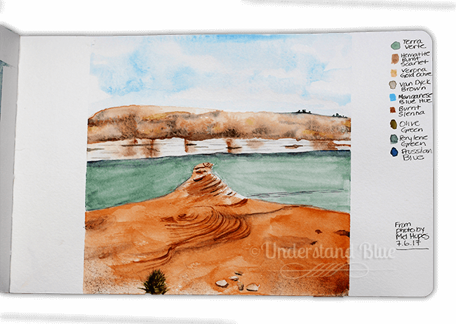 Day 6 – a sketch from a stunning photo a friend of mine took on a road trip. Lake Powell &#821