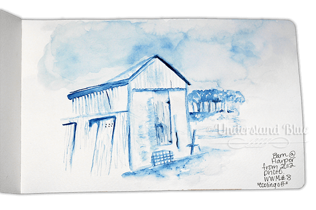 "Day 8 – the ""cool off\"" prompt – which I did by sketching a barn on our ran"
