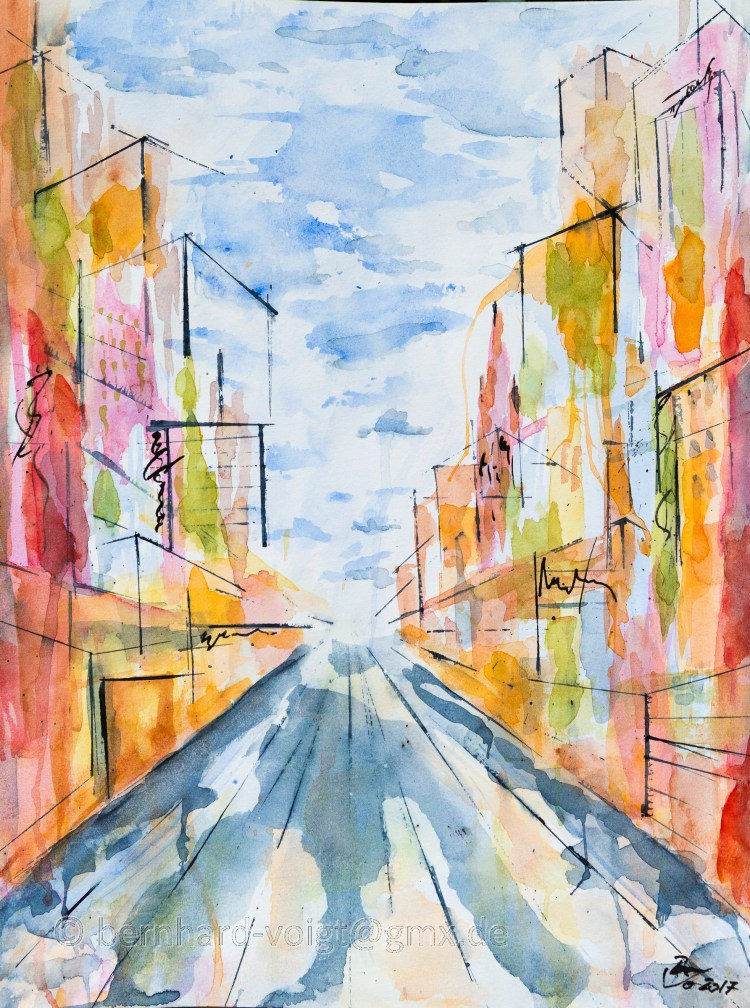 Stadtansicht II – Cityscape II Watercolour, paper, 30cm x 40cm, rough, 250g Stadtansicht II &#