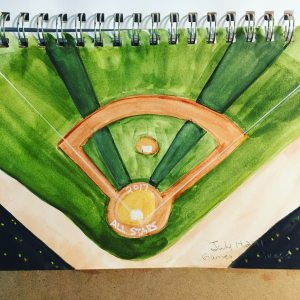 My work for the July 2017 watercolor month challenge (games on grass) IMG_9185