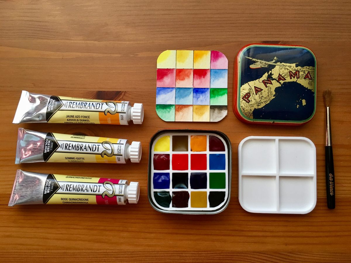 Royal Talens- Rembrandt Professional watercolors in travel tin with swatch