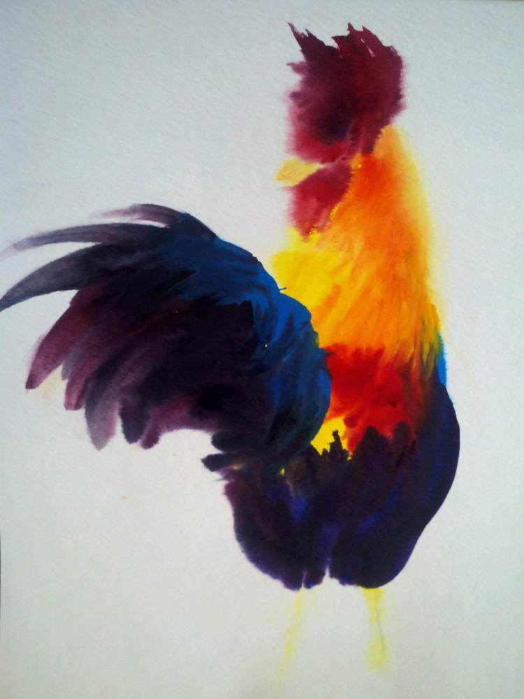 A rooster I painted at a hyper-realism class because I thought this style was more fun ha ha. Rooste