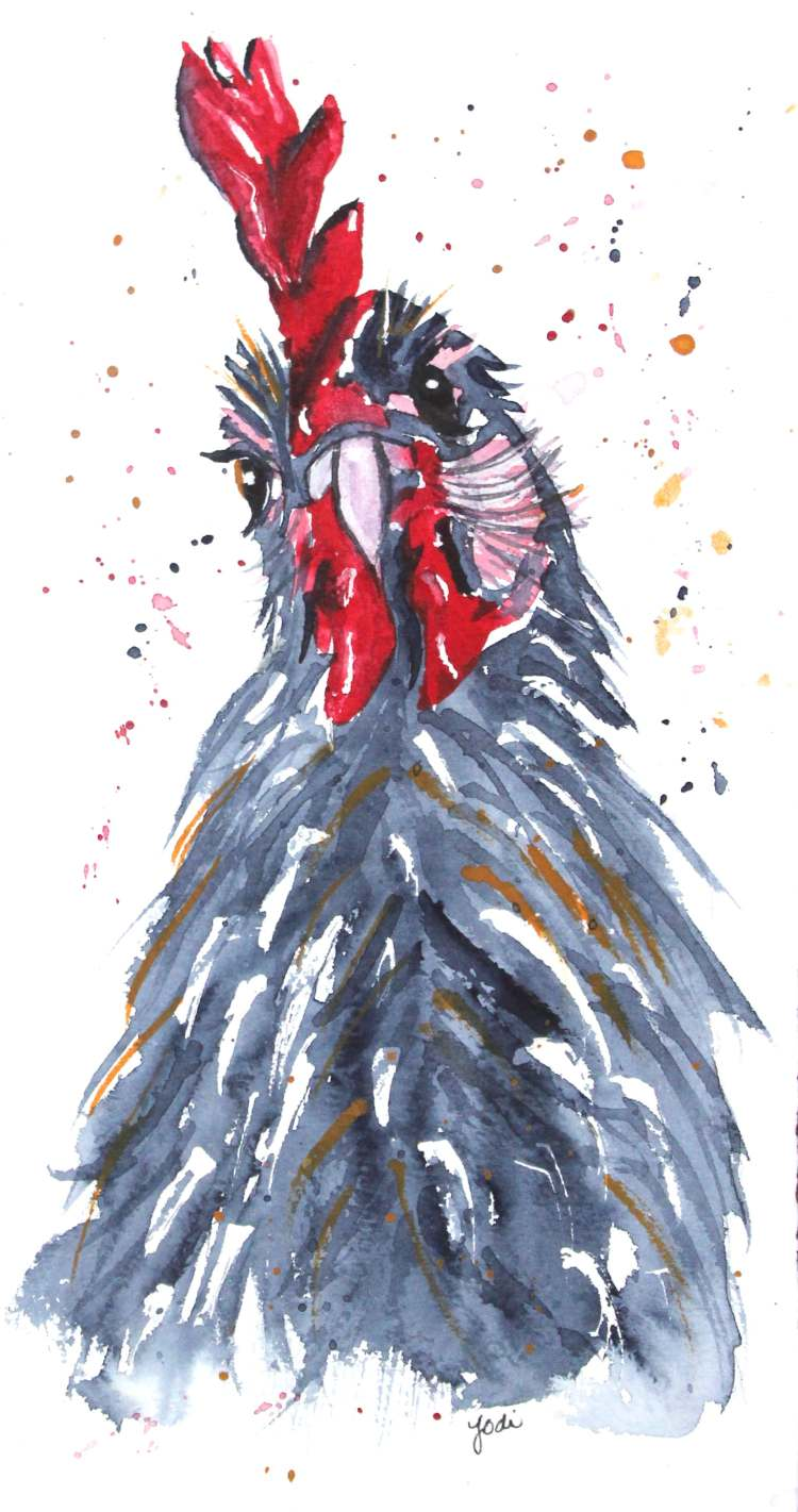 Rudy the Rooster Rudy the Rooster Watercolor 6×10 140lb Saunders Cold Press