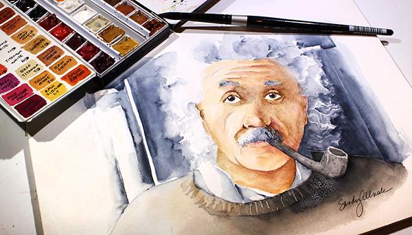 World Watercolor Month - Watercolor by Sandy Allnock - Einstein - Doodlewash