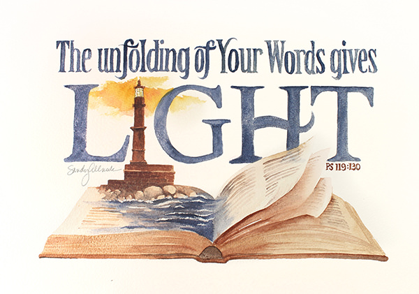 World Watercolor Month - Watercolor by Sandy Allnock - Bible - Unfolding of Words - Doodlewash