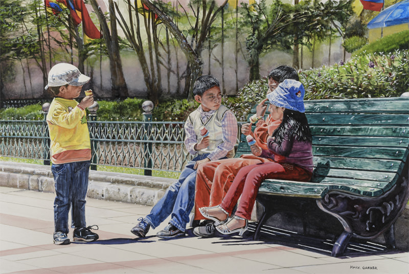 World Watercolor Month - Watercolor by Mark Garner - Helados Con Amigos - Doodlewash