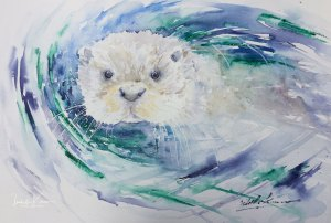 "IN LOVE WITH OTTERS I think this one fits perfect to Day 8 ""Cooling Off"" #WorldWatercolo"