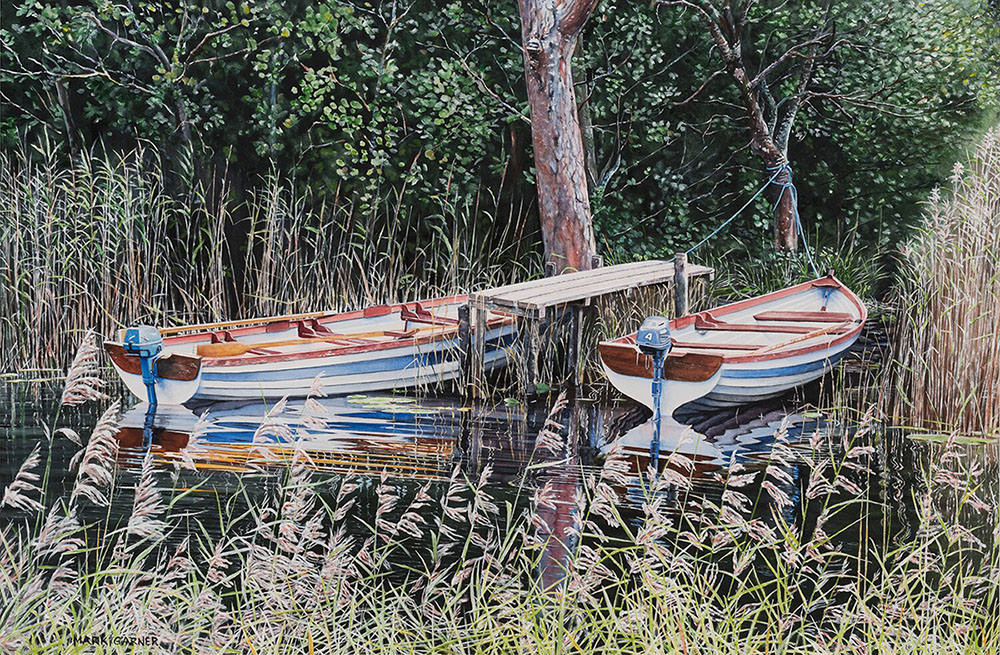 World Watercolor Month - Watercolor by Mark Garner - Twins - Rowboats - Doodlewash