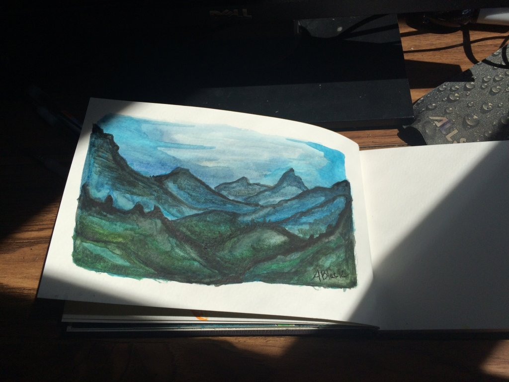 Day 11, mountains watercolor 11