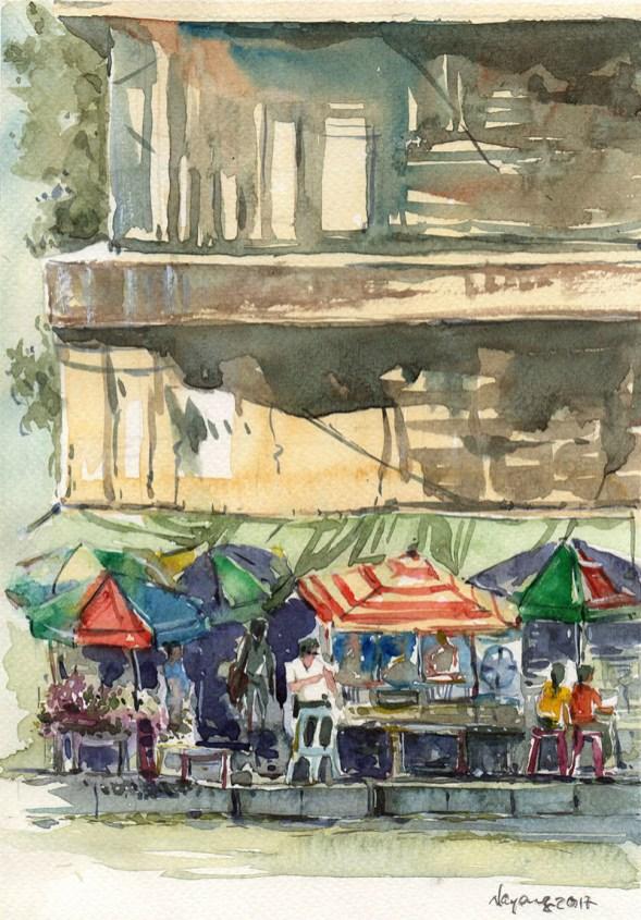 #WorldWatercolorGroup - Watercolor painting by Nay Aung - PanSoDan Corner - Doodlewash